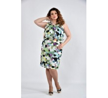 Платье зеленое с цветами 42-74 размеры ККК1017-0513-2