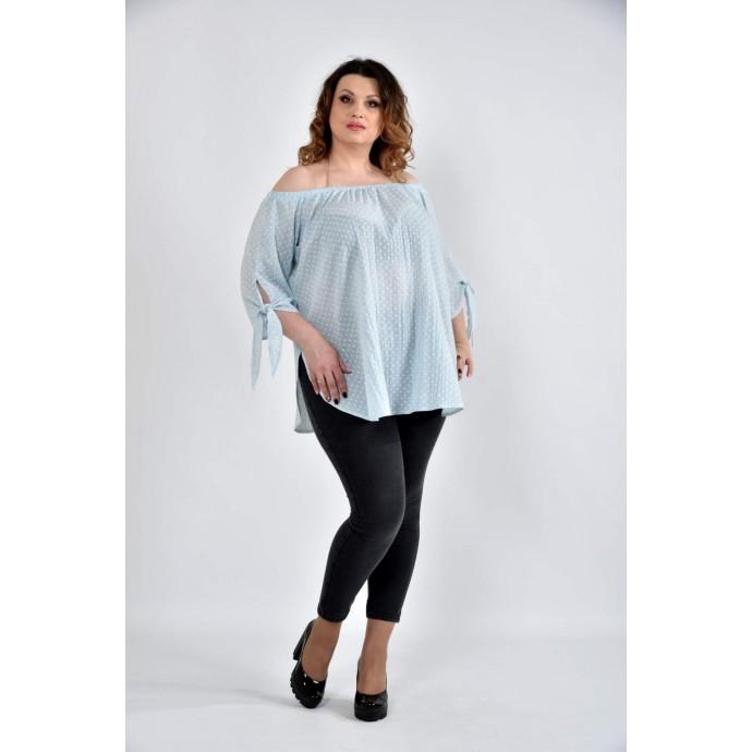 Блузка голубая 42-74 размеры ККК109-0517-1