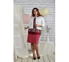 Бордовый костюм жакет и платье42-74 размер ККК219-0439-1