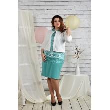 Бирюзовый костюм жакет и платье 42-74 размер ККК218-0439-2