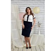 Сине-белый костюм  Платье и жакет 42-74 размер ККК24-0444-1