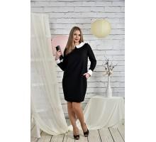 Офисное платье 42-74 размеры черное ККК2-0446-1