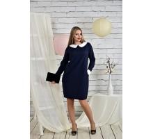 Офисное платье 42-74 размеры синее ККК2-0446-3