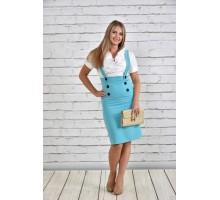 Платье белое с голубым ККК1546-0327-2