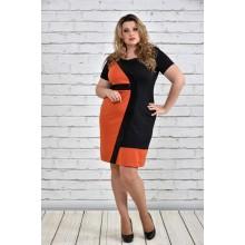 Платье больших размеров оранжевое ККК1533-0334-1