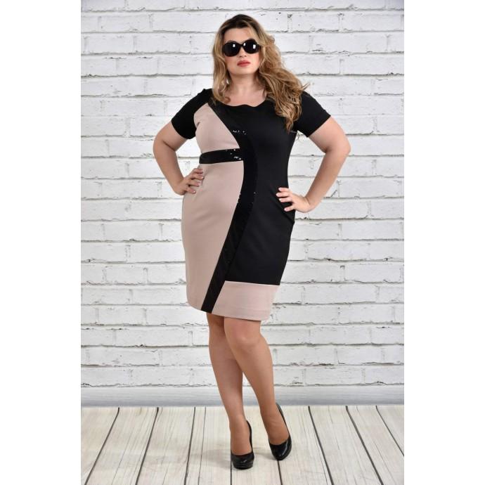 Платье больших размеров бежевое ККК1531-0334-3
