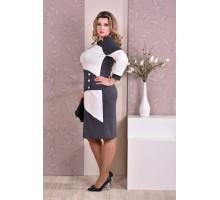 Серое с белым платье ККК86-0185-3