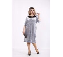 Серое велюровое платье КККZ21-01441-3
