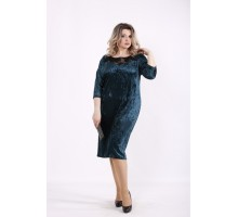 Зеленое велюровое платье КККZ22-01441-2