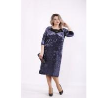 Синее велюровое платье КККZ23-01441-1