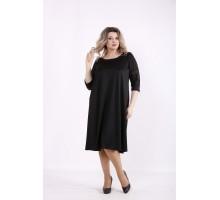 Черное простое платье КККZ26-01440-1