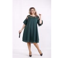 Темно-зеленое платье из шифона КККZ27-01439-3