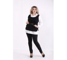 Комплект: белая блузка и джинсовая жилетка КККZ39-j01435-2