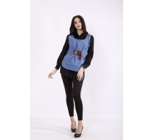 Комплект: черная блузка и джинсовая жилетка КККZ40-j01435-1