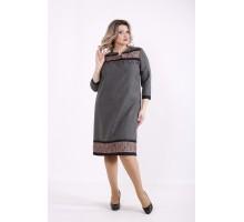 Серое платье с гипюром КККZ61-01428-1