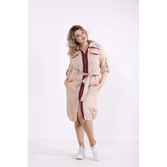 Бежевое платье-рубашка КККX0016-01492-3