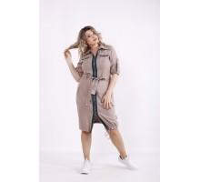Коричневое платье-рубашка КККX0017-01492-2