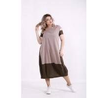 Коричневое льняное платье КККX0020-01491-2