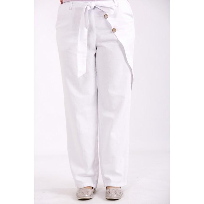 Белые льняные брюки КККX003-b074-1