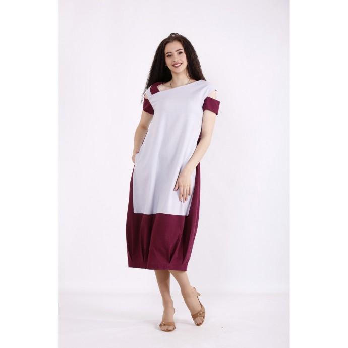 Комбинированное льняное платье бордо КККX0021-01491-1