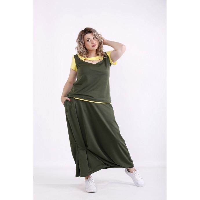 Хаки комплект: юбка и блузка КККX0022-01490-3
