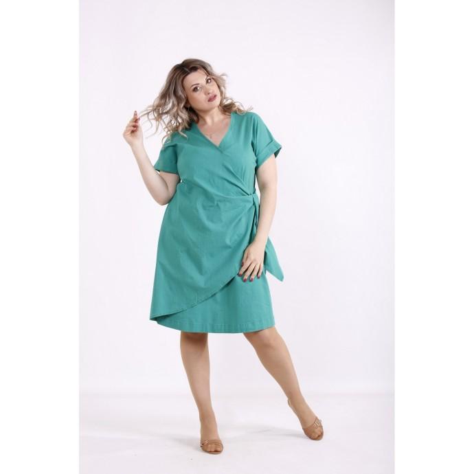 Зеленое легкое платье из льна КККX0028-01488-3