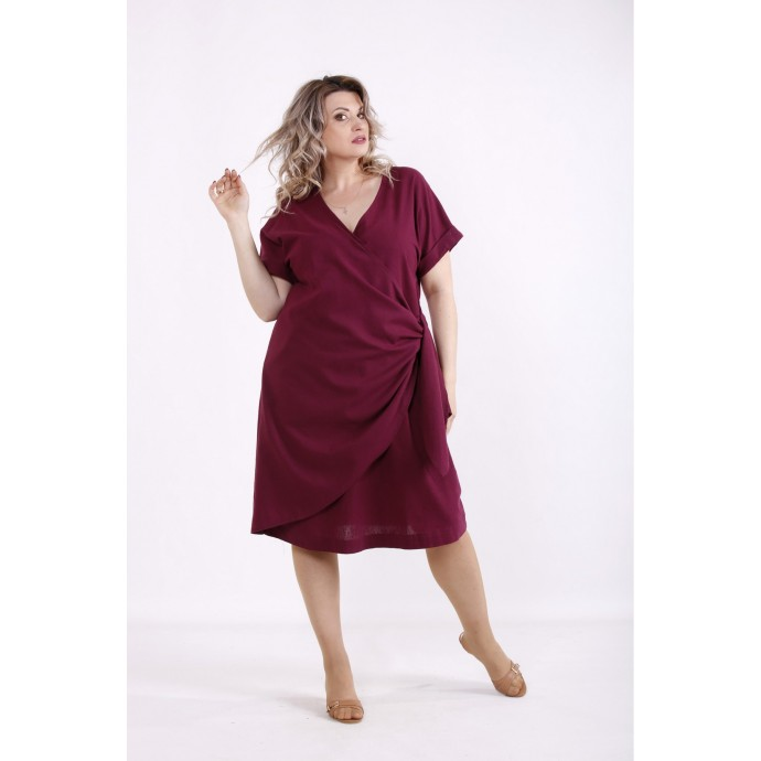 Бордовое платье из льна КККX0030-01488-1