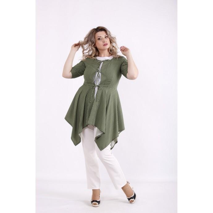 Зеленая блузка в горох КККX0043-01483-3