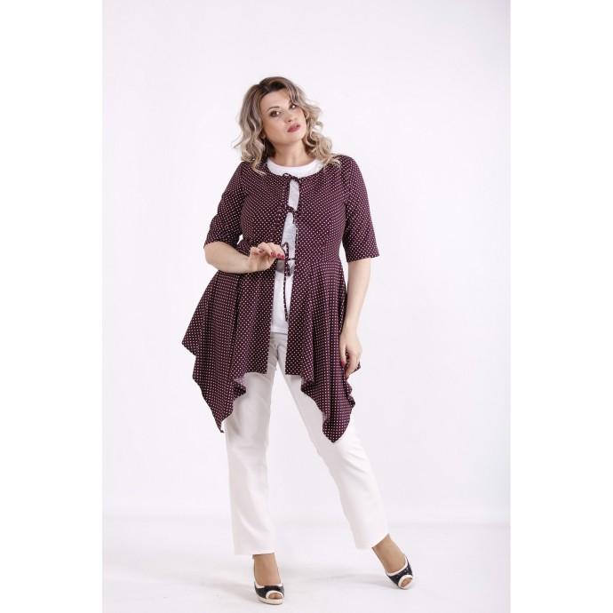 Бордовая блузка в горох КККX0045-01483-1