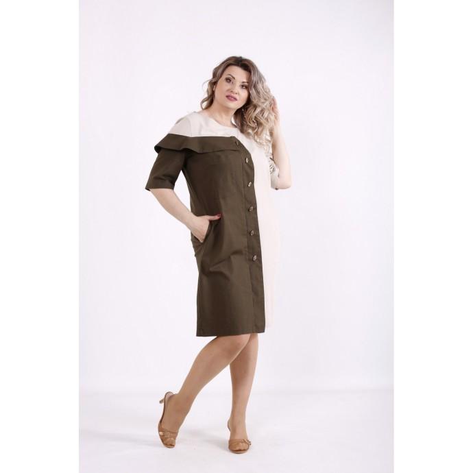 Двухцветное бежевое льняное платье КККX0052-01479-3