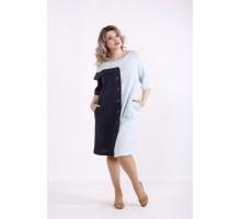 Двухцветное голубое льняное платье КККX0053-01479-2