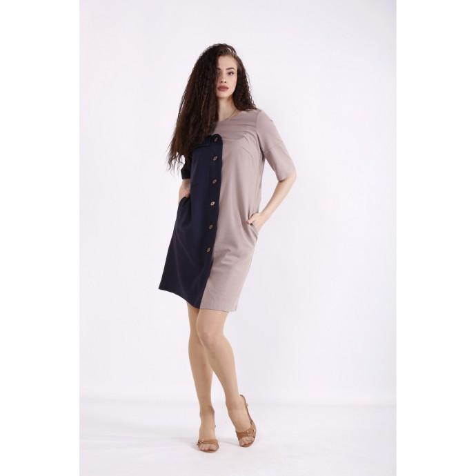 Двухцветное шоколадное льняное платье КККX0054-01479-1