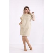 Бежевое платье выше колена КККX008-01495-2