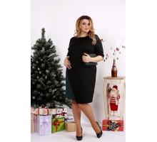 Черное простое платье с зеленым ККК1211-0686-3