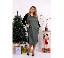 Зеленое с черным платье ККК1217-0684-3