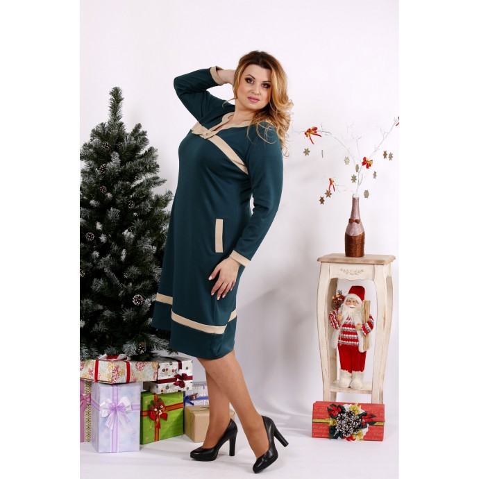 Классное зеленое платье с бежевыми вставками ККК1223-0682-3