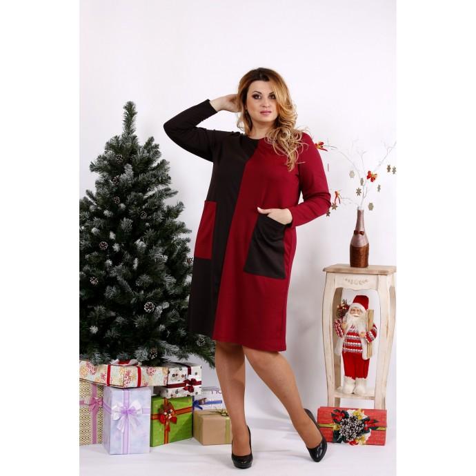 Бордово-шоколадное платье с карманами ККК1245-0673-2