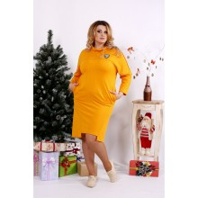 Классное горчичное платье с воротником ККК1252-0671-1