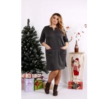 Темно-серое платье выше колена ККК1237-0678-1