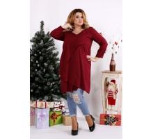 Бордовая блузка-туника ККК1240-0675-1