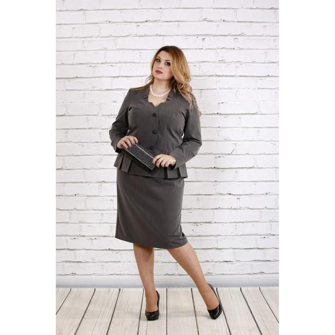 Серый деловой костюм двойка ККК1815-0748-1
