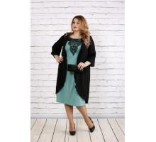 Черное с шалфеем платье из трикотажа ККК1817-0747-2