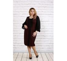 Терракотовое платье с пышными рукавами ККК1819-0746-3