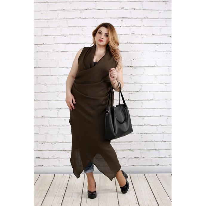 Платье-туника ниже колена цвета хаки ККК1835-0741-1