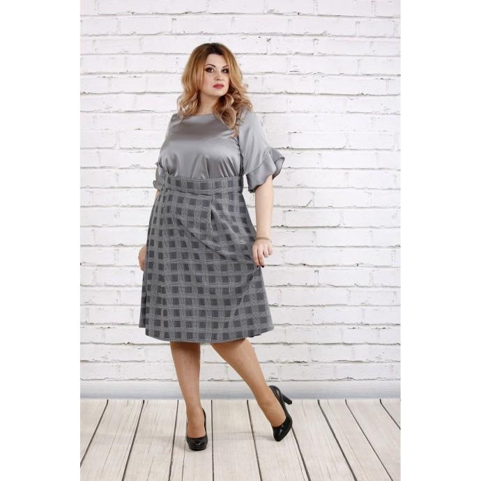 Модное стальное платье с пышной юбкой ККК1850-0735-2