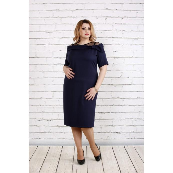 Синее красивое платье из костюмки ККК1854-0734-1