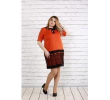 Оранжевое платье с кружевом ККК1856-0733-2