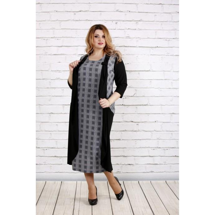Темное платье с клеткой ККК1859-0732-2
