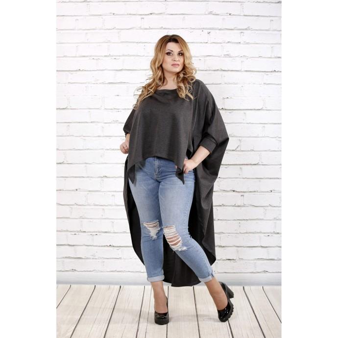Темно-серая блузка в закрытой спиной ККК1660-0711-1