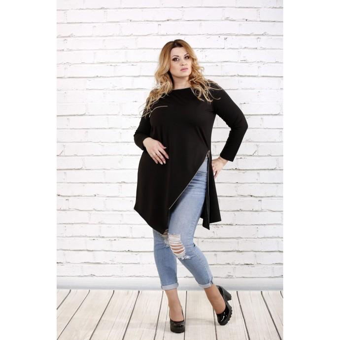 Черная блузка с разрезом ККК1662-0710-2